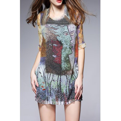 Multicolored Printed Dress