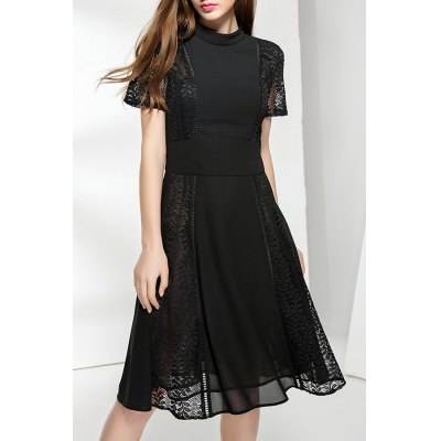 Black Cut Out Pleated Dress