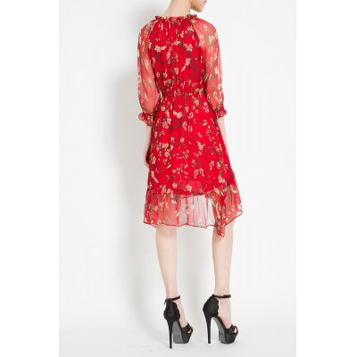 Tiny Flower Print Asymmetric DressDesigner Dresses<br>Tiny Flower Print Asymmetric Dress<br><br>Style: Cute<br>Occasion: Casual,Day,Work<br>Material: Polyester,Silk<br>Composition: Outer Composition:100% Silk&lt;br&gt;Lining Composition:100% Polyester<br>Silhouette: Asymmetrical<br>Dresses Length: Knee-Length<br>Neckline: Ruffled<br>Sleeve Length: 3/4 Length Sleeves<br>Pattern Type: Floral<br>With Belt: No<br>Season: Summer<br>Weight: 0.400kg<br>Package Contents: 1 x Dress