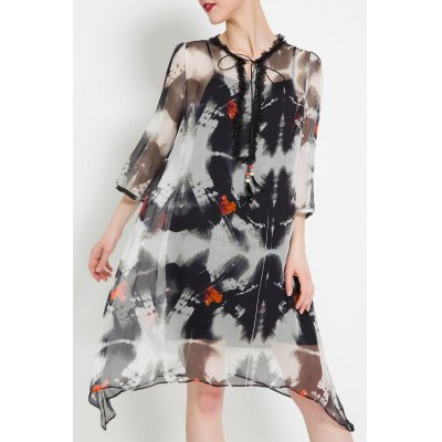 Silk Printed Dress With Cami Dress