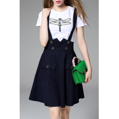 Dragonfly Beaded T-Shirt and Denim Suspender Skirt Twinset
