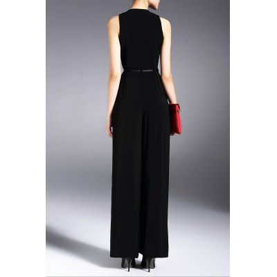 Sleeveless V Neck Wide Leg JumpsuitDesigner Bottoms<br>Sleeveless V Neck Wide Leg Jumpsuit<br><br>Material: Acetate<br>Composition: 100% Acetate<br>Fit Type: Loose<br>Pattern Type: Others<br>Style: Fashion<br>With Belt: Yes<br>Weight: 0.370kg<br>Package Contents: 1 x Jumpsuit  1 x Belt