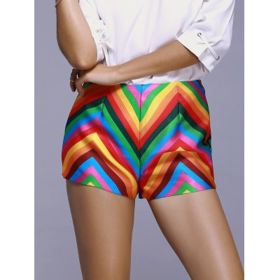 Fashionable Stripe Color Printing A Font Shorts For Women