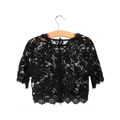 Alluring Black See-Through Women's Lace Crop Top