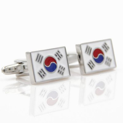 Korea Flag Rectangle Cufflinks For Men