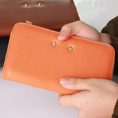 Simple Candy Color and Zip Design Clutch Wallet For Women