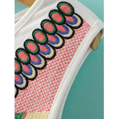 Ethnic Style Round Neck Retro Embroidery Tank Top For Women