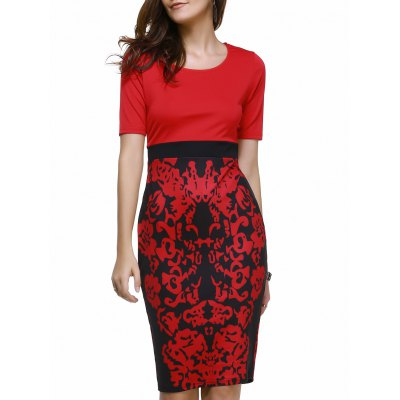 Scoop Neck Floral Print Bodycon Dress For Women