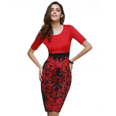 Fashionable Scoop Neck Floral Print Bodycon Dress For Women