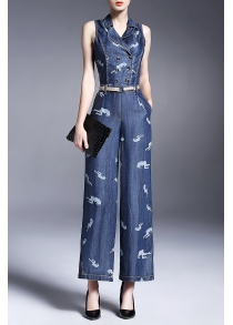 Double Breasted Print Wide Leg Denim Jumpsuit