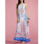 Fashion Halter Print Cut Out Maxi Dress For Women