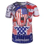 Round Neck The Stars and The Stripes Cartoon Print Short Sleeve T-Shirt For Men