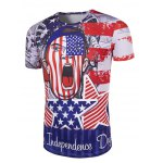cheap Round Neck The Stars and The Stripes Cartoon Print Short Sleeve T-Shirt For Men