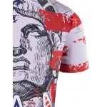 best Round Neck The Stars and The Stripes Cartoon Print Short Sleeve T-Shirt For Men