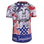 Round Neck The Stars and The Stripes Cartoon Print Short Sleeve T-Shirt For Men deal
