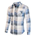 Turn-Down Collar Checked Color Block Long Sleeve Shirt For Men