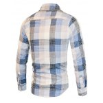 Turn-Down Collar Checked Color Block Long Sleeve Shirt For Men deal