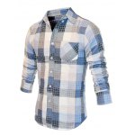 cheap Turn-Down Collar Checked Color Block Long Sleeve Shirt For Men