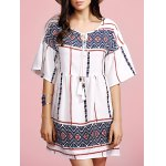 Stylish Round Neck Flare Sleeve Ethnic Style Printed Women's Dress