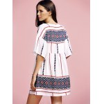 Stylish Round Neck Flare Sleeve Ethnic Style Printed Women's Dress deal