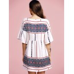 Stylish Round Neck Flare Sleeve Ethnic Style Printed Women's Dress for sale