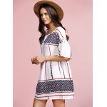 cheap Stylish Round Neck Flare Sleeve Ethnic Style Printed Women's Dress