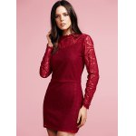 Stylish Ruffled Long Sleeve Solid Color Lace Women's Dress deal