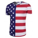 cheap Round Neck The Stars and The Stripes Print Short Sleeve T-Shirt For Men