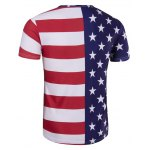 Round Neck The Stars and The Stripes Print Short Sleeve T-Shirt For Men deal