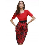 cheap Fashionable Scoop Neck Floral Print Bodycon Dress For Women