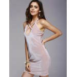 Charming Hollow Out Strappy Pure Color Skinny Women's Dress deal