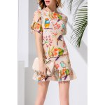 Sheath Flounce Ruffles Bird Print Dress