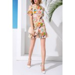 Sheath Flounce Ruffles Bird Print Dress for sale