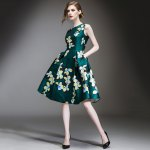 Waisted Corset Clover Print Dress photo