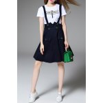 Beaded Dragonfly T-Shirt and Denim Suspender Skirt Twinset deal