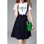 Beaded Dragonfly T-Shirt and Denim Suspender Skirt Twinset