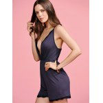 Stylish Cami Black Cross Backless Women's Playsuit deal