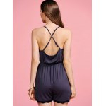 Stylish Cami Black Cross Backless Women's Playsuit for sale