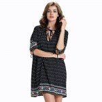 Chic Women's 3/4 Sleeve Hollow Out Ethnic Print Dress photo