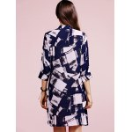 best Fashion Stand Neck 3/4 Sleeve Checked Print Shirt Dress For Women