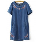 Fashion Round Neck Short Sleeve Embroidery Denim Dress For Women