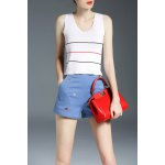 High Waist Cartoon Embroidery Shorts