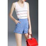 High Waist Cartoon Embroidery Shorts for sale