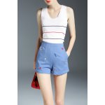High Waist Cartoon Embroidery Shorts deal