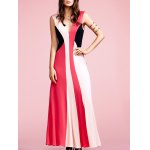 Buy Fashion Plunging Neck Sleeveless Color Block Maxi Dress Women XL RED
