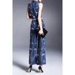 cheap Double-Breasted Twin Pocket Wide Leg Denim Jumpsuit
