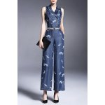 Double-Breasted Twin Pocket Wide Leg Denim Jumpsuit