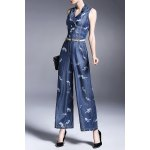 Double Breasted Print Wide Leg Denim Jumpsuit for sale
