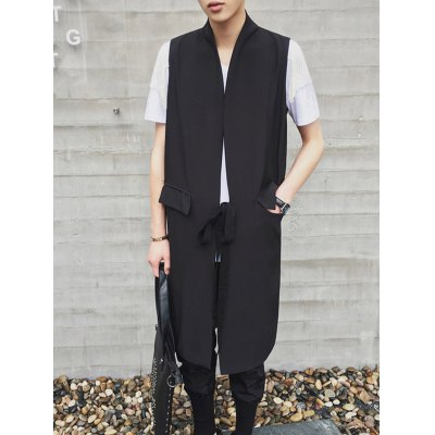 Stand Collar Lengthen Lace-Up Design Waistcoat For Men
