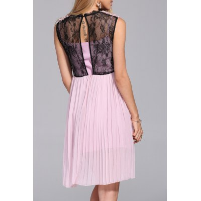 Lace Insert Pleated DressDesigner Dresses<br>Lace Insert Pleated Dress<br><br>Occasion: Cocktail &amp; Party<br>Material: Cotton,Polyester<br>Composition: Outer Composition:30% Cotton,70% Polyester&lt;br&gt;Lining Composition:30% Cotton,70% Polyester<br>Dresses Length: Knee-Length<br>Neckline: V-Neck<br>Sleeve Length: Sleeveless<br>Embellishment: Lace<br>Pattern Type: Solid<br>With Belt: No<br>Season: Spring,Summer<br>Weight: 0.270kg<br>Package Contents: 1 x Dress